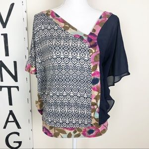 {Anthro} Vanessa Virginia multicolor pink top